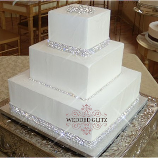Wedding Cake with Rhinestone Band