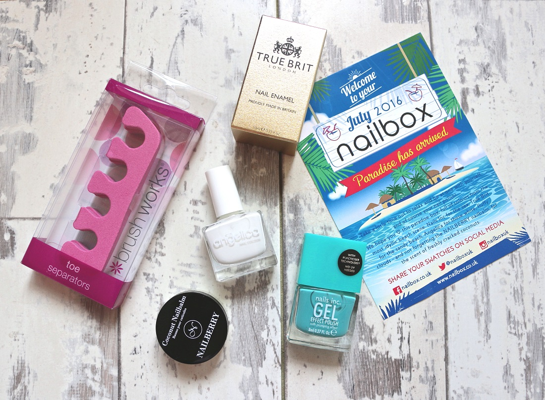 Nailbox July 2016 Nailberry Coconut Nailbalm, Brush Works Toe Separators, Nails Inc. Gel Effect in Soho Place, True Brit London in The Summer House and Angelica Nails in Snow White.