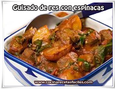 Una deliciosa y sencilla receta de guisado de res con espinacas para variar el sabor de la cocina . La espinaca tiene un alto contenido en fibra y vitaminas, también tiene una gran cantidad de ácido fólico.