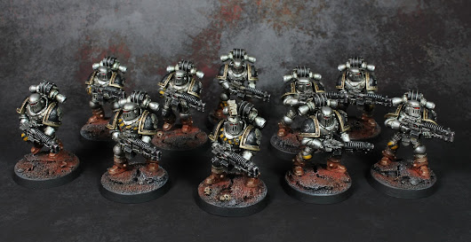SHOWCASE: Iron Warriors Volkite support squad.