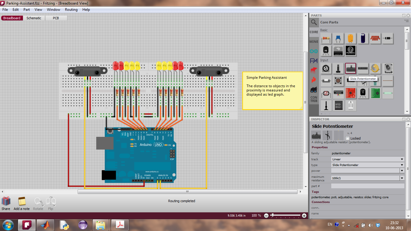 Fritzing Software Breadboard View, with an open project, Parking Assistant