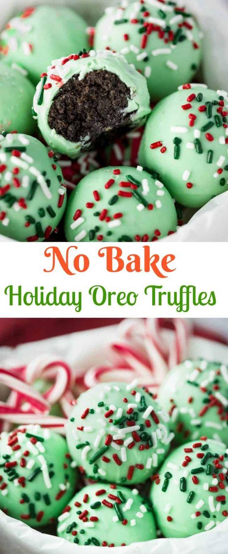 No Bake Holiday Oreo Truffles #Nobake #Holidayrecipe #Holidaycookies #Cookies #Oreo #Truffles