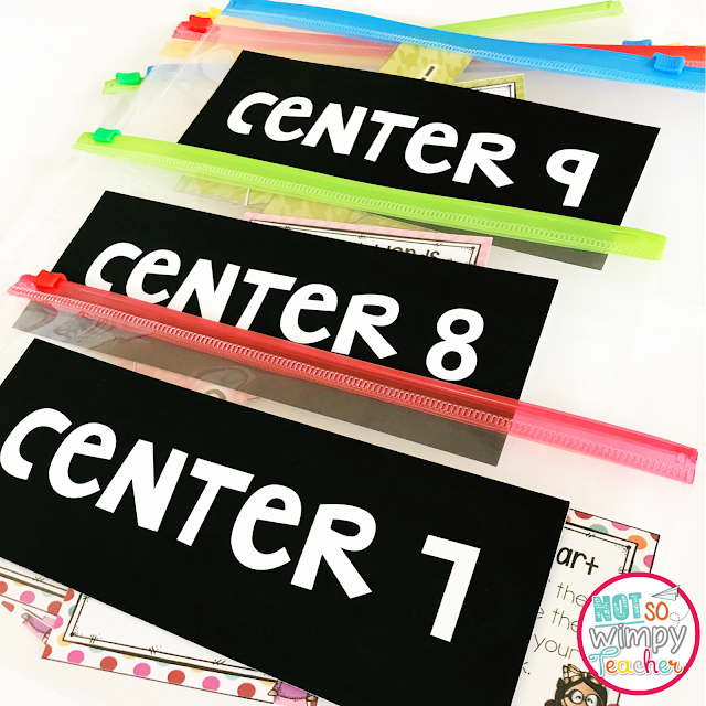 Simple ways to store your centers so that you can stay organized. Grab some free labels!