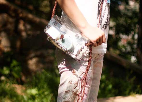 Bolso bandolera transparente con plastico pvc