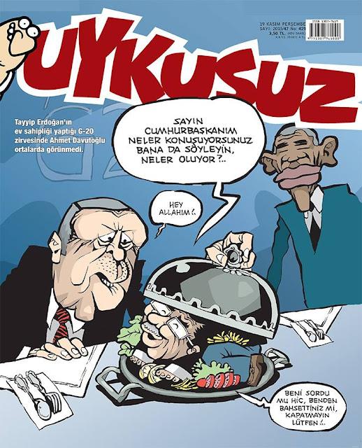 Uykusuz Tayyip Erdoğan ve Ahmet Davutoğlu Karikatürü