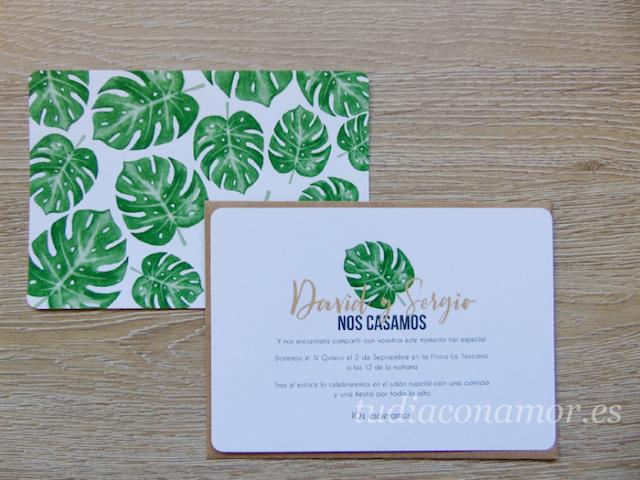 Diseños tropicales para boda con hojas tropicales pintadas en acuarela