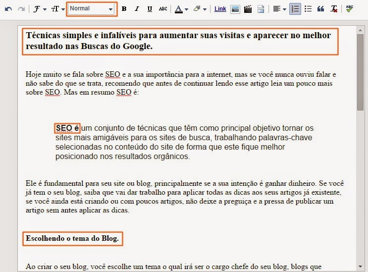Heading Tags nos textos do Blogger