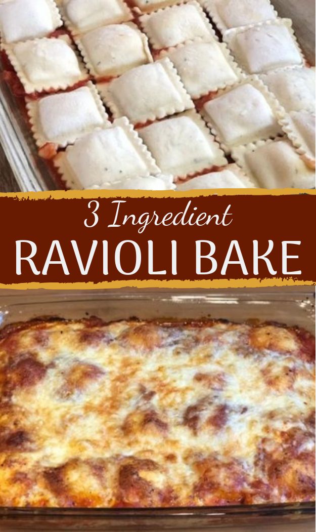 3 Ingredient Ravioli Bake #dinner #cheaprecipe