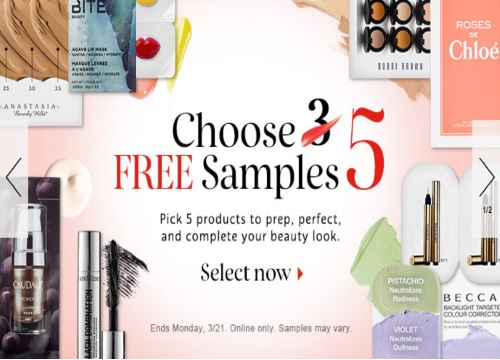 Sephora Pick 5 Free Samples