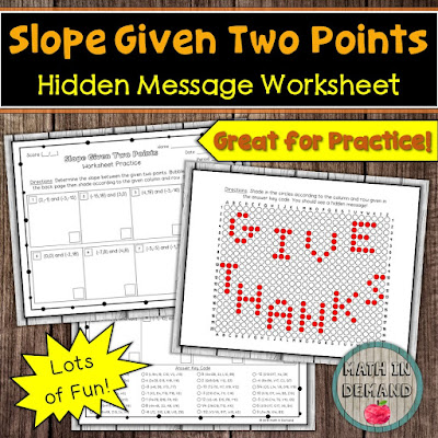 Slope Given Two Points Hidden Message Worksheet Thanksgiving