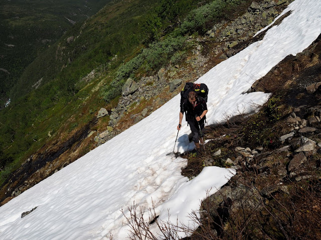 sníh, sněhová přikrývka, léto, příroda, trek, turistika, Norsko, údolí Utladalen