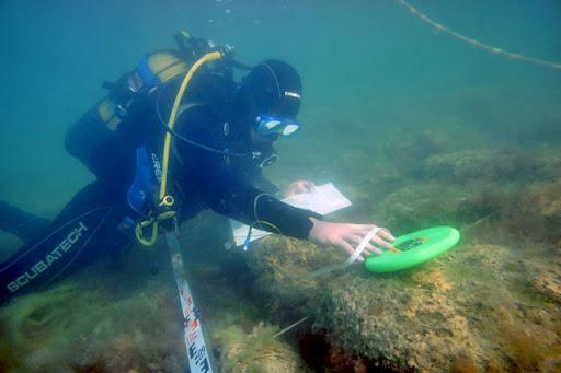 Дайвер исследует греческое городище Акра на дне Черного моря под Керчью