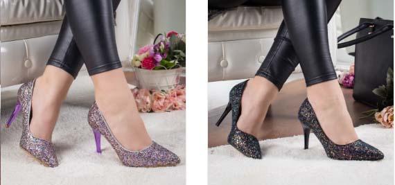 Pantofi mov , negri cu toc eleganti din glitter la moda 2019