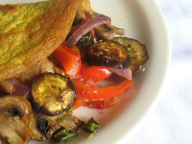 Roasted Vegetable Stuffed Omelette