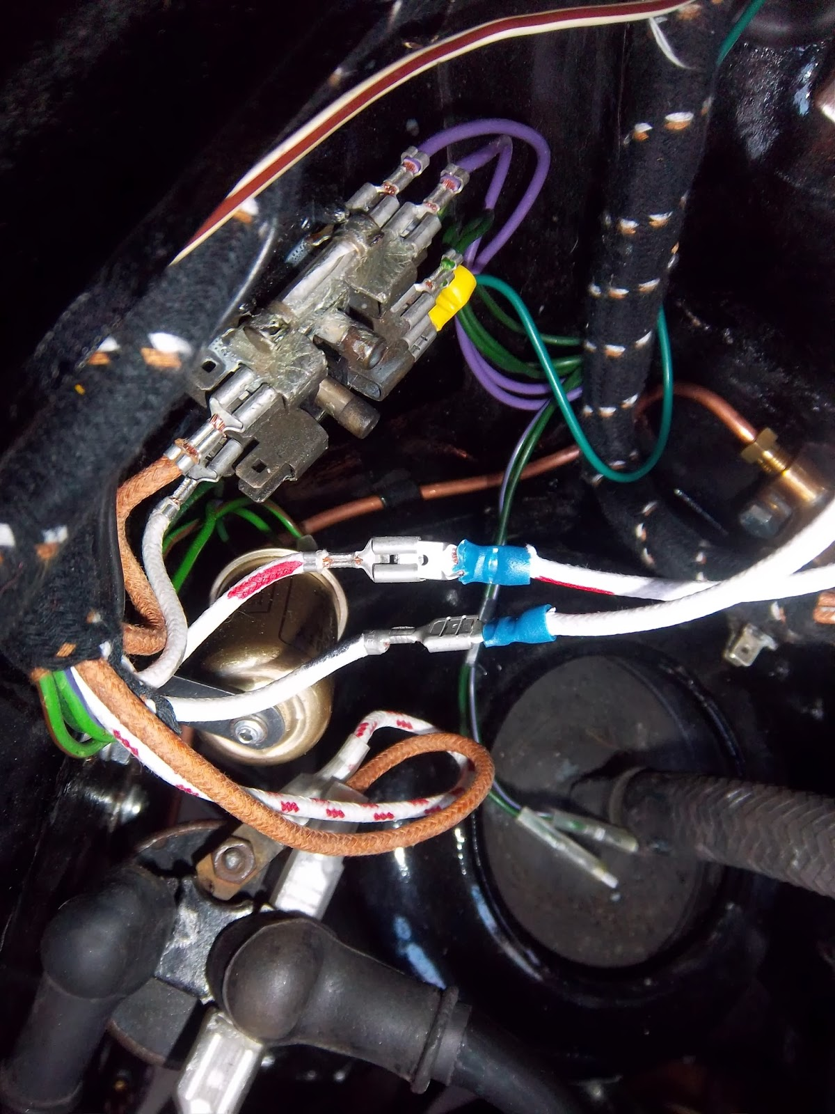 hight resolution of in essence the white wires go through the tachometer instead of the fuse box