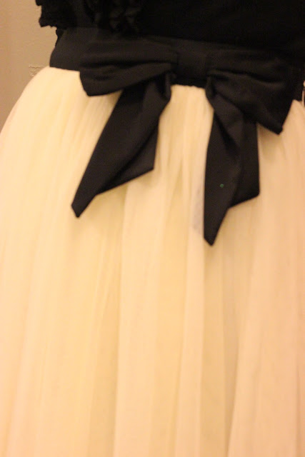Cream Tulle Skirt with Black Bow