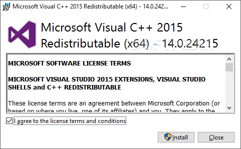 microsoft visual c++ redistributable package (x64)