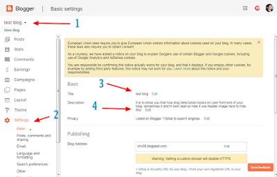blogger, blog title, blog description, blogger setting,