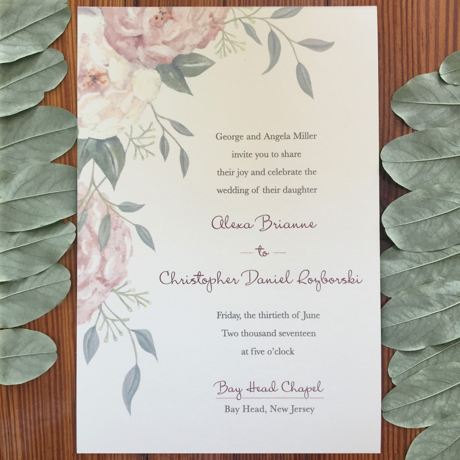 Invitations ink social design studio peonies eucalyptus bouquet alexa and chriss wedding invitation showcases watercolor peonies seeded eucalyptus and vines a laurel wreath was also created using these elements stopboris Choice Image