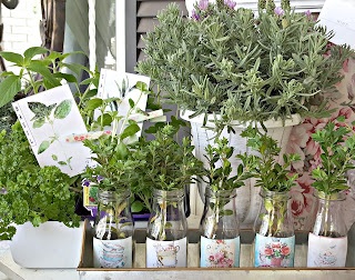 container herb garden on the porch