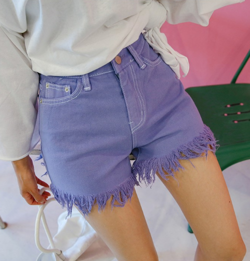 Fringed Hem Shorts