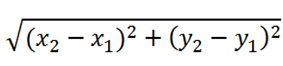 Formula to calculate a distance between two points X1, Y1, and X2, Y2