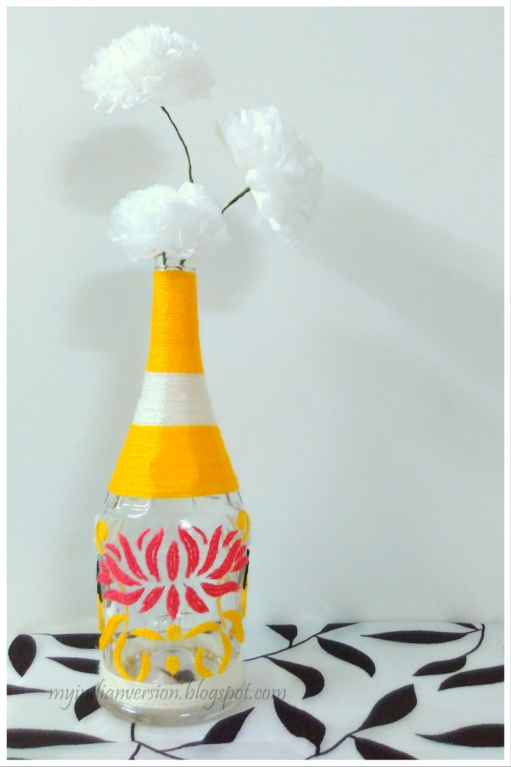 My Indian Version: Yarn Art - An Empty Bottle Recycle Project