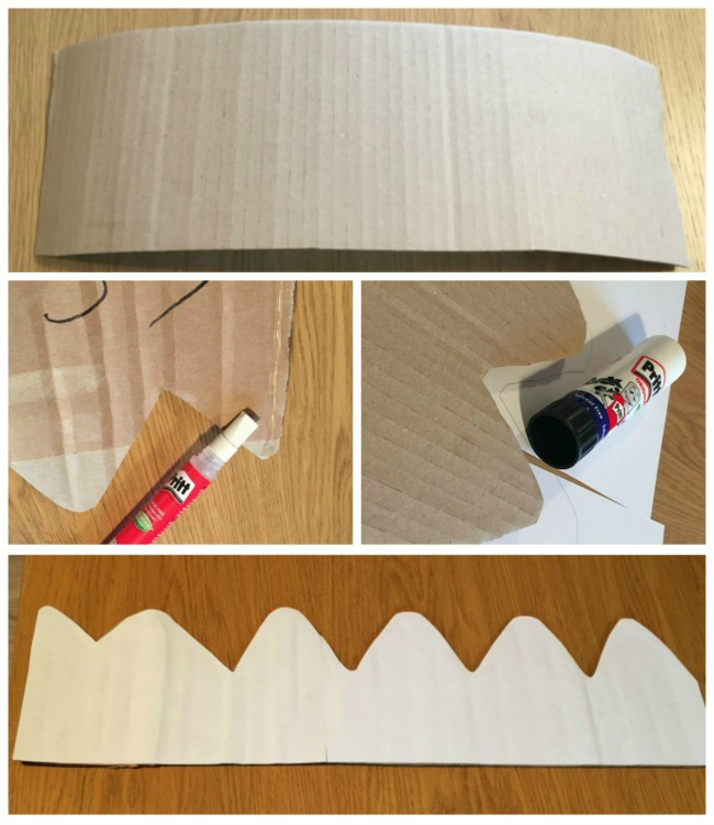 collage of cardboard crown template, paper and Pritt glue