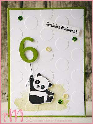 Stampin' Up! rosa Mädchen Kulmbach: Geburtstagskarten für Kids mit Party Pandas, Perpetual Birthday Calendar, BigZ Buchstaben und Prägefolder große Punkte