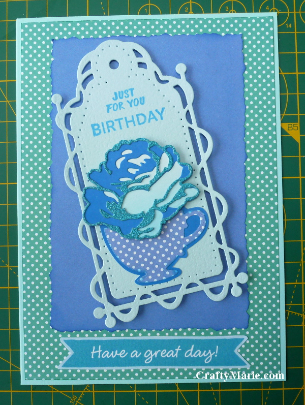 Birthday card handmade with free dies from Simply Cards and Papercraft issues 174 and 176 plus tonic tag blue green colors dotty spot papers rose and teacup