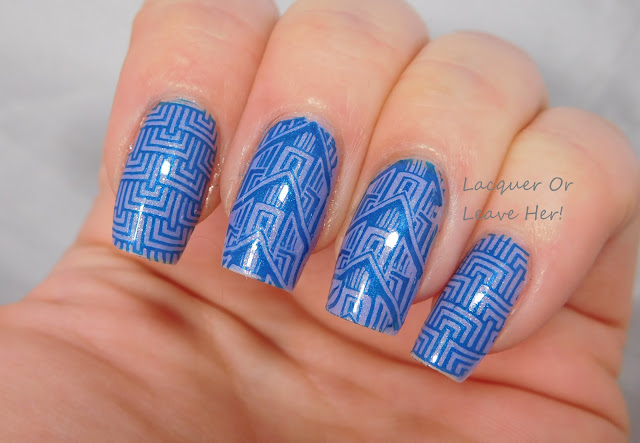 Deco blues with It Girl Nail Art IG107, Zoya Aster, and Zoya Yves