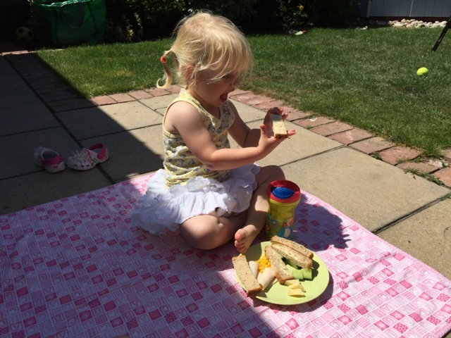 Tin Box Tot sat on a picnic blanket with a plate of food