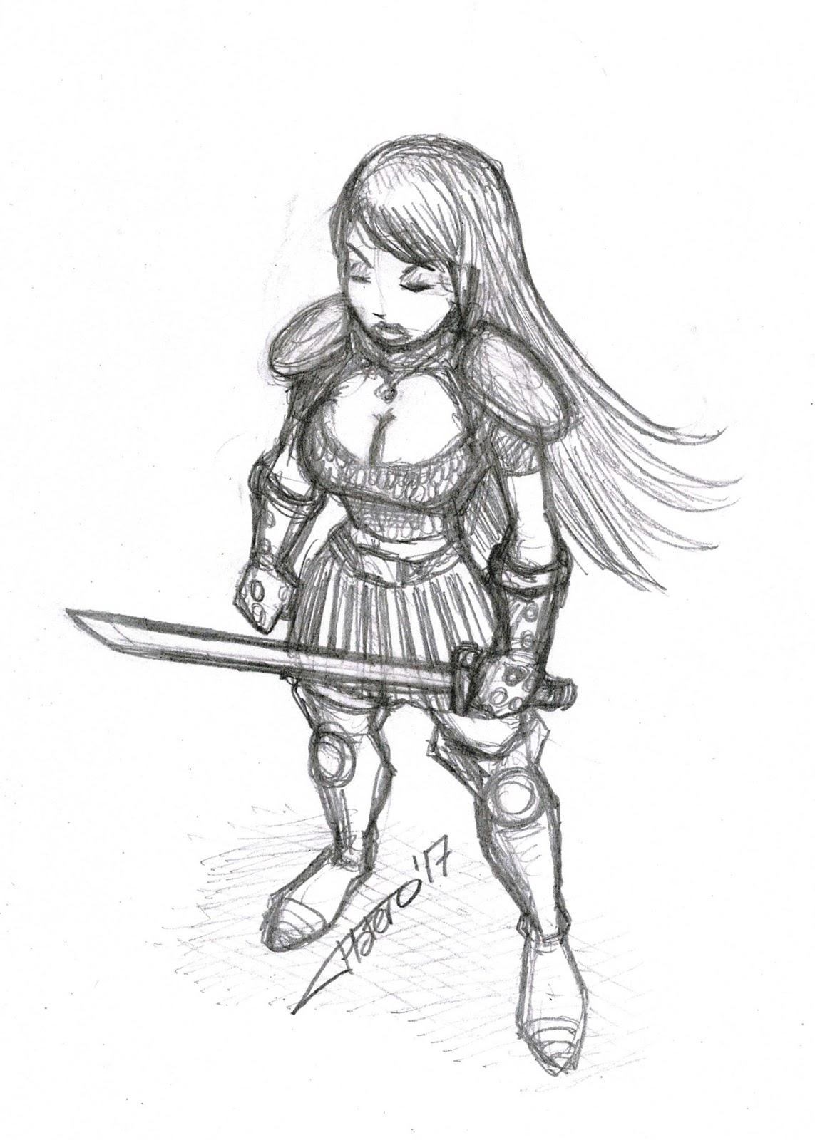 Platero Caricaturas Cómics E Ilustraciones Chica Guerrera Samurai