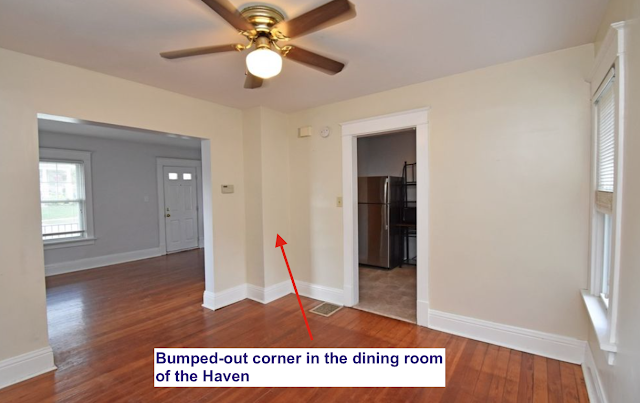 Sears Haven dining room corner bump out depicted