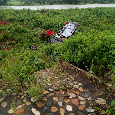 Woman Cheats Death As Vehicle Veers Off Highway, Lands Inside A Bush (Photos)