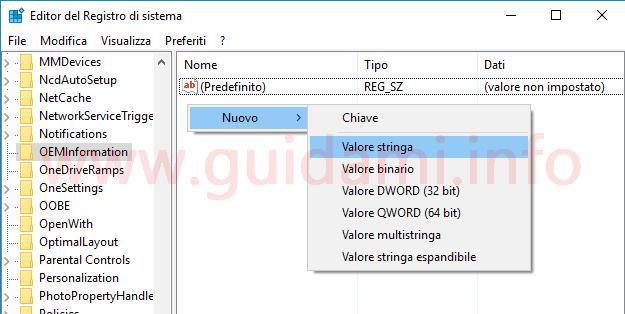 Windows Registro di sistema aggiungere nuovo valore stringa