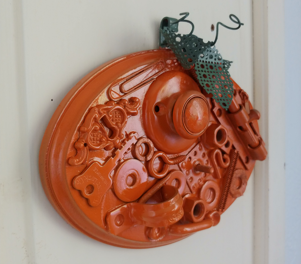 junk art pumpkin
