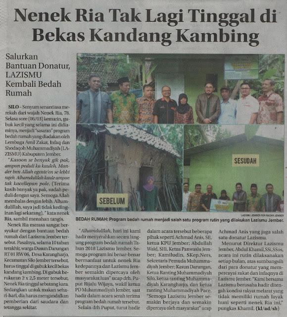 Berita Bedah Rumah di Rada Jember Jawapos edisi Kamis, 08 Maret 2018