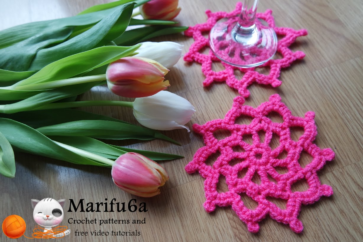 Crochet pattern pink coaster hot