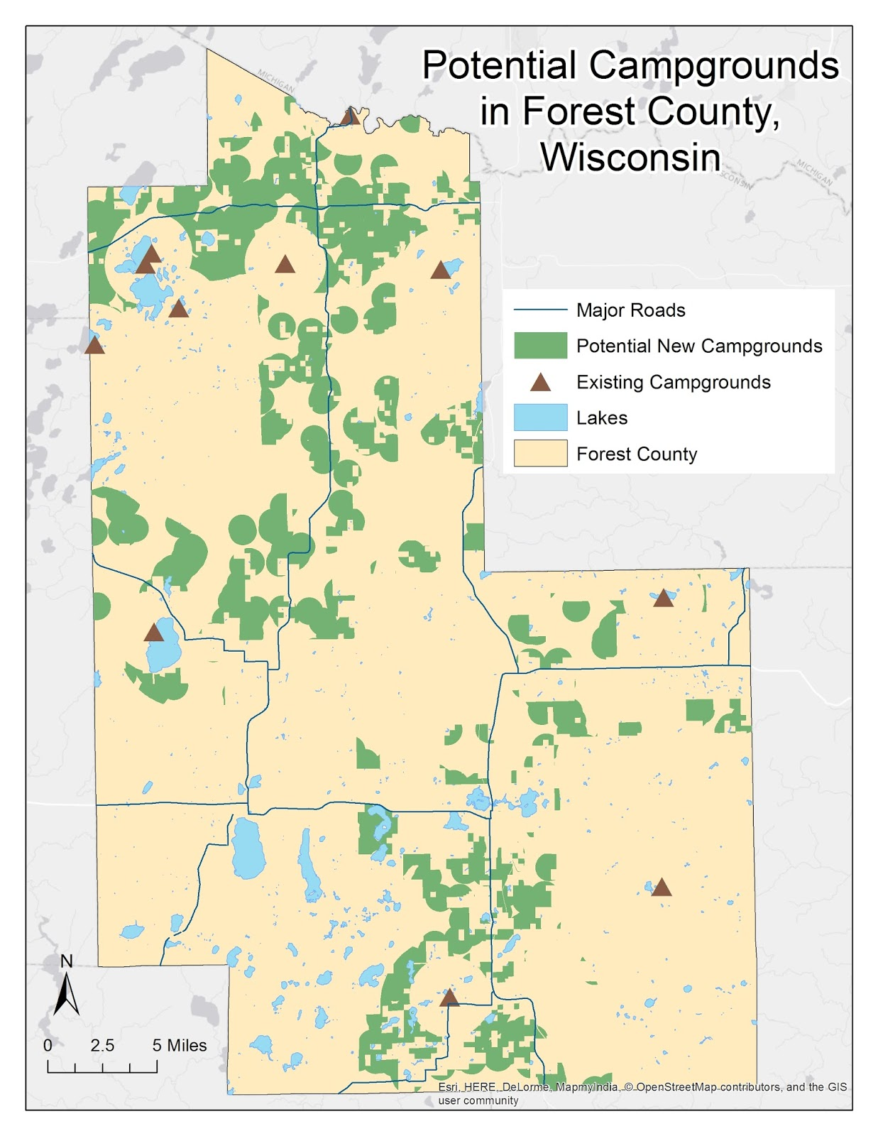 final map portraying areas for potential new campgrounds in forest county wisconsin