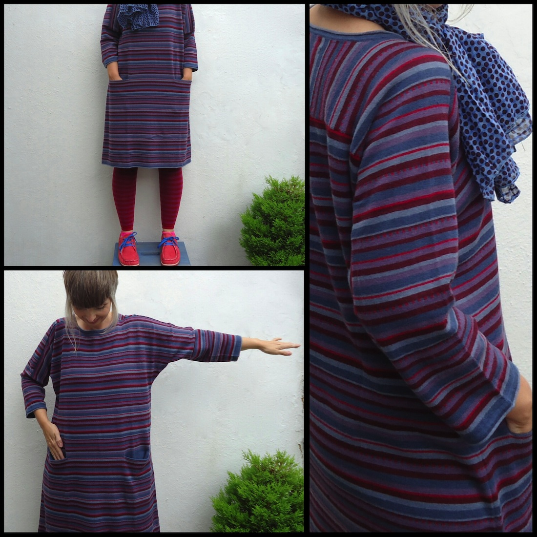 Striped dress in eco-cotton and wool by Gudrun Sjödén