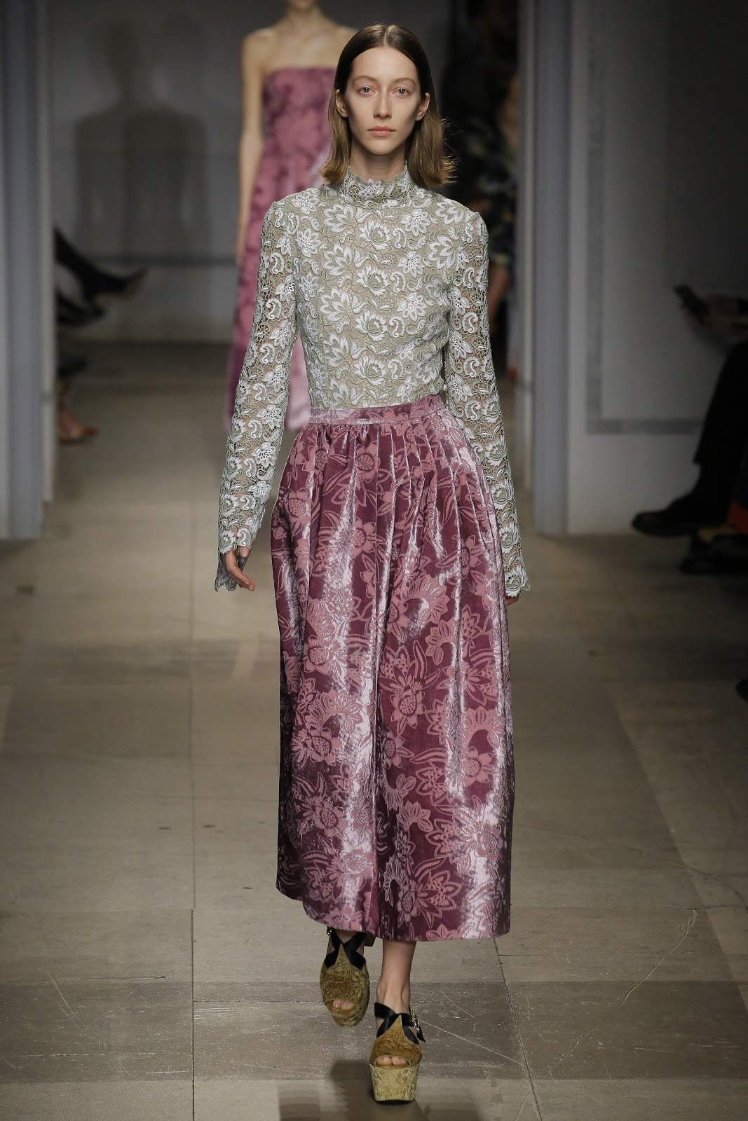 pink brocade skirt and lace blouse