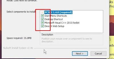 instalasi komponen pcsx2
