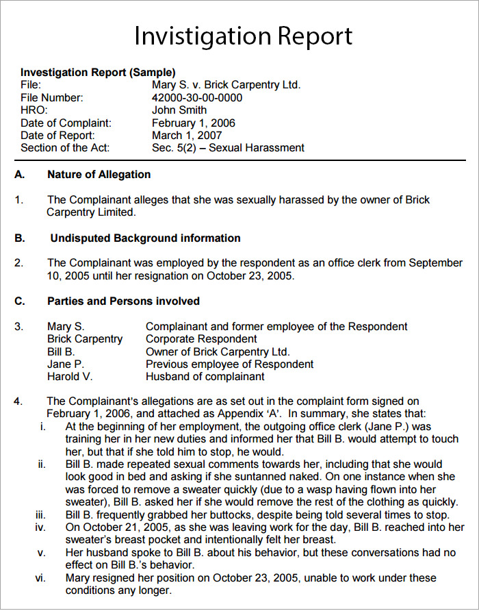 Investigative Report Template Modern resume template ideas - investigation report template