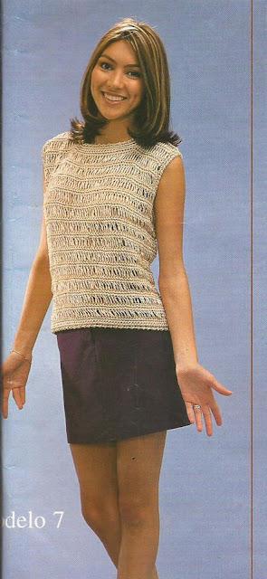 Jersey sin mangas Beige a Crochet