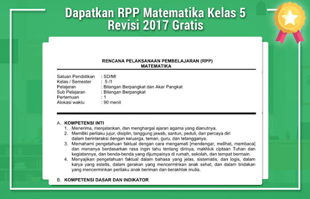 Dapatkan RPP Matematika Kelas 5 Revisi 2017 Gratis