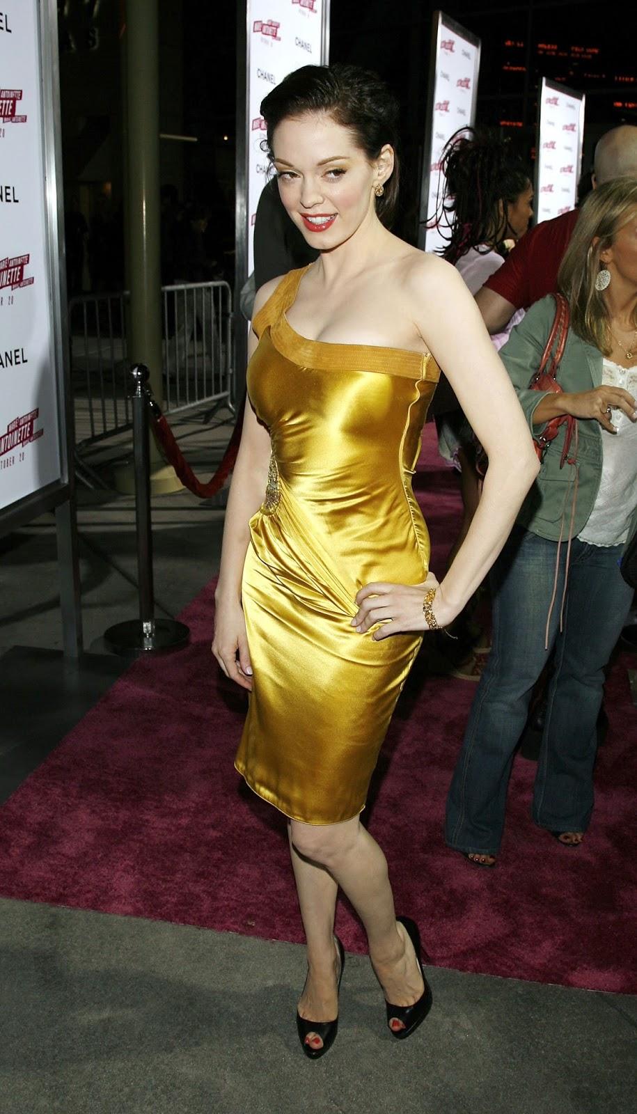 Ladies In Satin Blouses Rose Mcgowan Yellow Satin Dress