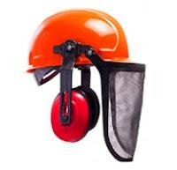 Capacete de segurança, protetor auditivo e viseira