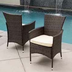 Outdoor Furniture, Wicker Dining Chairs, Wicker Outdoor Furniture, Clementine Outdoor Multibrown PE Wicker Dining Chairs