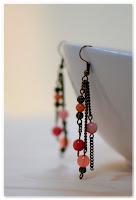 boucles d'oreilles pendantes bronze et perles jade corail rose orange